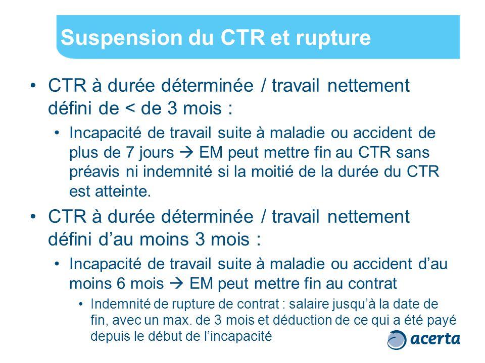 Suspension du CTR et rupture CTR à durée déterminée / travail nettement défini de < de 3 mois : Incapacité de travail suite à maladie ou accident de plus de 7 jours  EM peut mettre fin au CTR sans préavis ni indemnité si la moitié de la durée du CTR est atteinte.