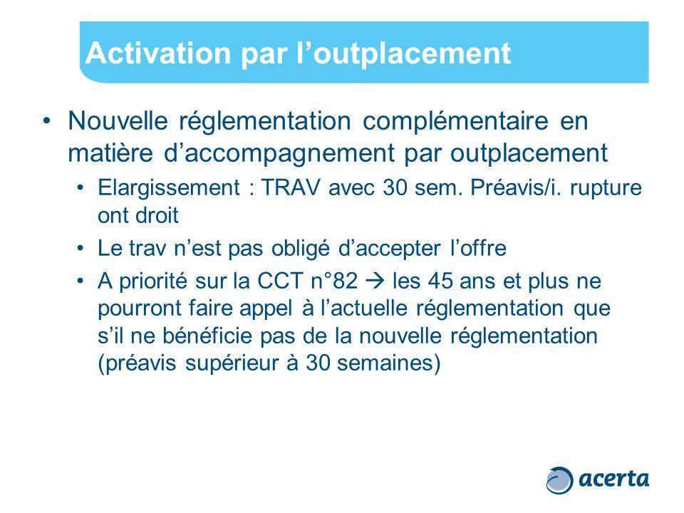 Activation par l'outplacement Nouvelle réglementation complémentaire en matière d'accompagnement par outplacement Elargissement : TRAV avec 30 sem. Pr