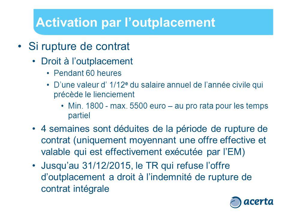 Activation par l'outplacement Si rupture de contrat Droit à l'outplacement Pendant 60 heures D'une valeur d' 1/12 e du salaire annuel de l'année civile qui précède le lienciement Min.