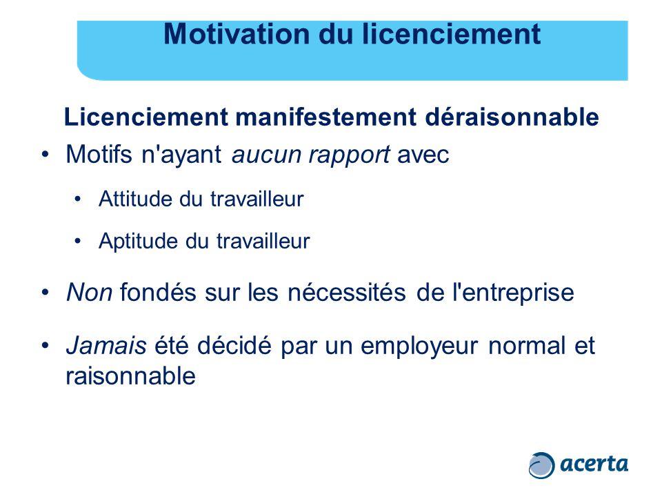 Motivation du licenciement Licenciement manifestement déraisonnable Motifs n'ayant aucun rapport avec Attitude du travailleur Aptitude du travailleur