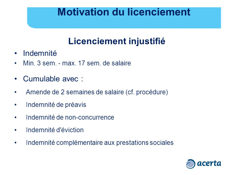 Motivation du licenciement Licenciement injustifié Indemnité Min.