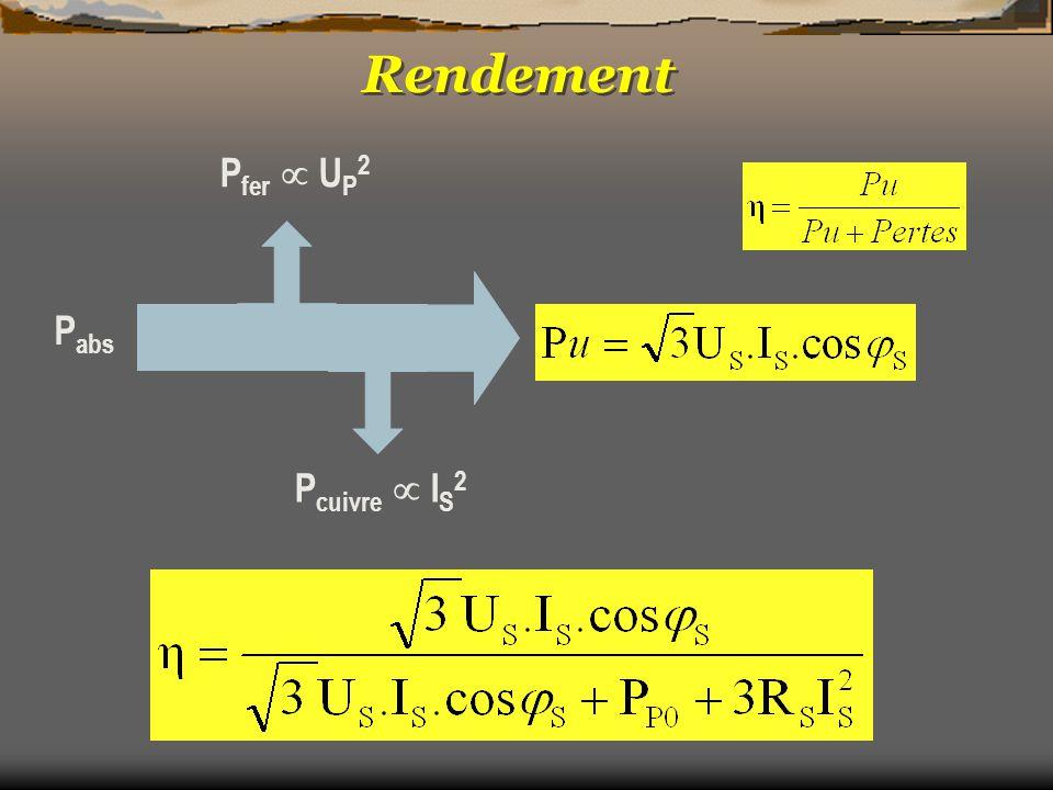 P fer  U P 2 P cuivre  I S 2 P abs Rendement