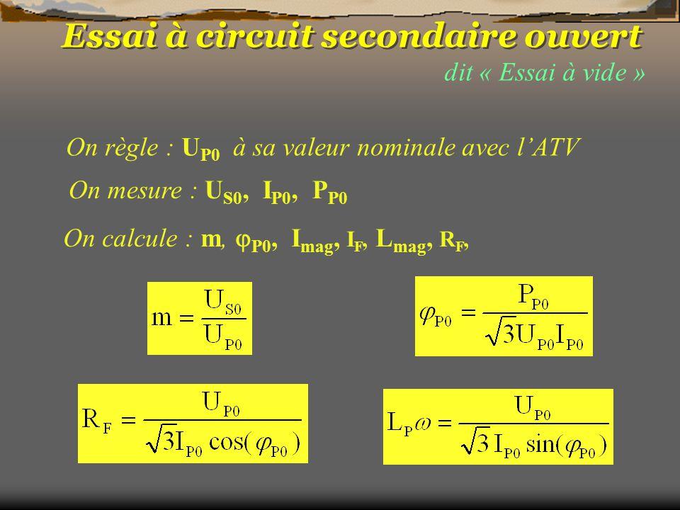 dit « Essai à vide » On mesure : U S0, I P0, P P0 On règle : U P0 à sa valeur nominale avec l'ATV On calcule : m,  P0, I mag, I F, L mag, R F, Essai