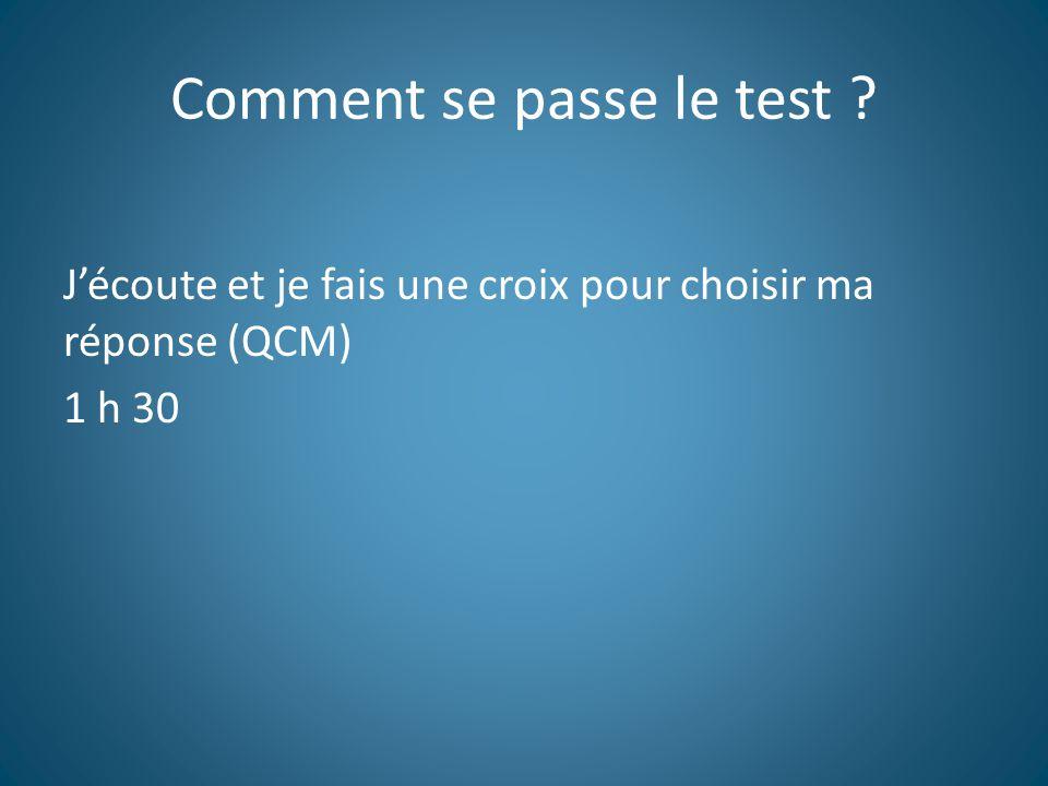 Comment se passe le test ? J'écoute et je fais une croix pour choisir ma réponse (QCM) 1 h 30