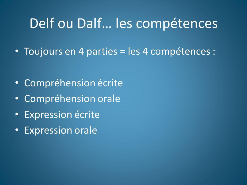 Delf ou Dalf… les compétences Toujours en 4 parties = les 4 compétences : Compréhension écrite Compréhension orale Expression écrite Expression orale