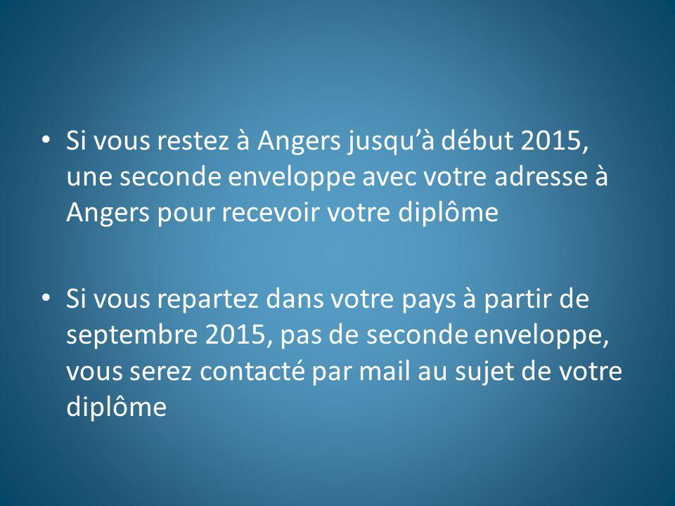 Si vous restez à Angers jusqu'à début 2015, une seconde enveloppe avec votre adresse à Angers pour recevoir votre diplôme Si vous repartez dans votre pays à partir de septembre 2015, pas de seconde enveloppe, vous serez contacté par mail au sujet de votre diplôme