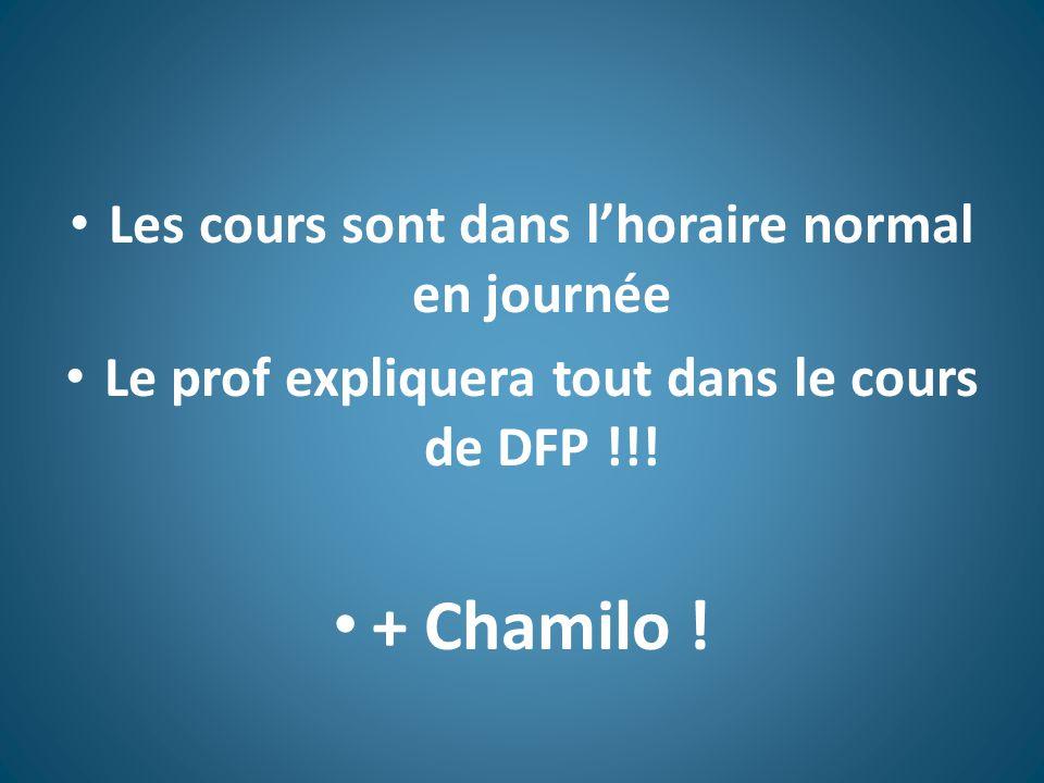 Les cours sont dans l'horaire normal en journée Le prof expliquera tout dans le cours de DFP !!.