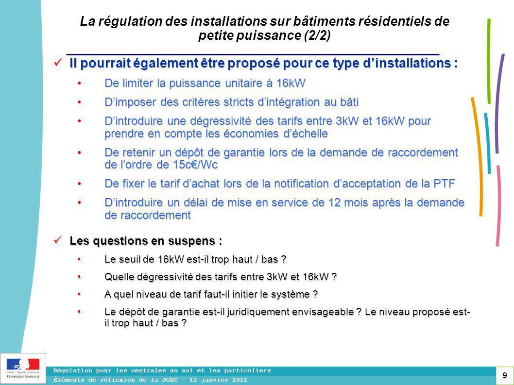 9 Régulation pour les centrales au sol et les particuliers Éléments de réflexion de la DGEC - 12 janvier 2011 La régulation des installations sur bâtiments résidentiels de petite puissance (2/2) Il pourrait également être proposé pour ce type d'installations : Il pourrait également être proposé pour ce type d'installations : De limiter la puissance unitaire à 16kW De limiter la puissance unitaire à 16kW D'imposer des critères stricts d'intégration au bâti D'imposer des critères stricts d'intégration au bâti D'introduire une dégressivité des tarifs entre 3kW et 16kW pour prendre en compte les économies d'échelle D'introduire une dégressivité des tarifs entre 3kW et 16kW pour prendre en compte les économies d'échelle De retenir un dépôt de garantie lors de la demande de raccordement de l'ordre de 15c€/Wc De retenir un dépôt de garantie lors de la demande de raccordement de l'ordre de 15c€/Wc De fixer le tarif d'achat lors de la notification d'acceptation de la PTF De fixer le tarif d'achat lors de la notification d'acceptation de la PTF D'introduire un délai de mise en service de 12 mois après la demande de raccordement D'introduire un délai de mise en service de 12 mois après la demande de raccordement Les questions en suspens : Les questions en suspens : Le seuil de 16kW est-il trop haut / bas .