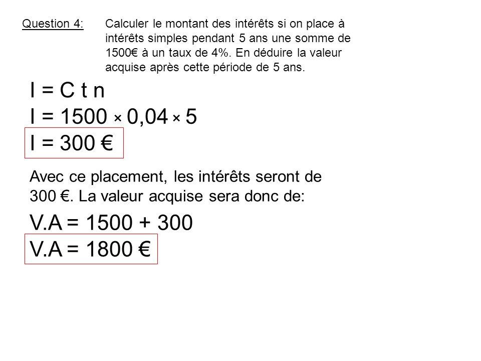 Question 4:Calculer le montant des intérêts si on place à intérêts simples pendant 5 ans une somme de 1500€ à un taux de 4%. En déduire la valeur acqu