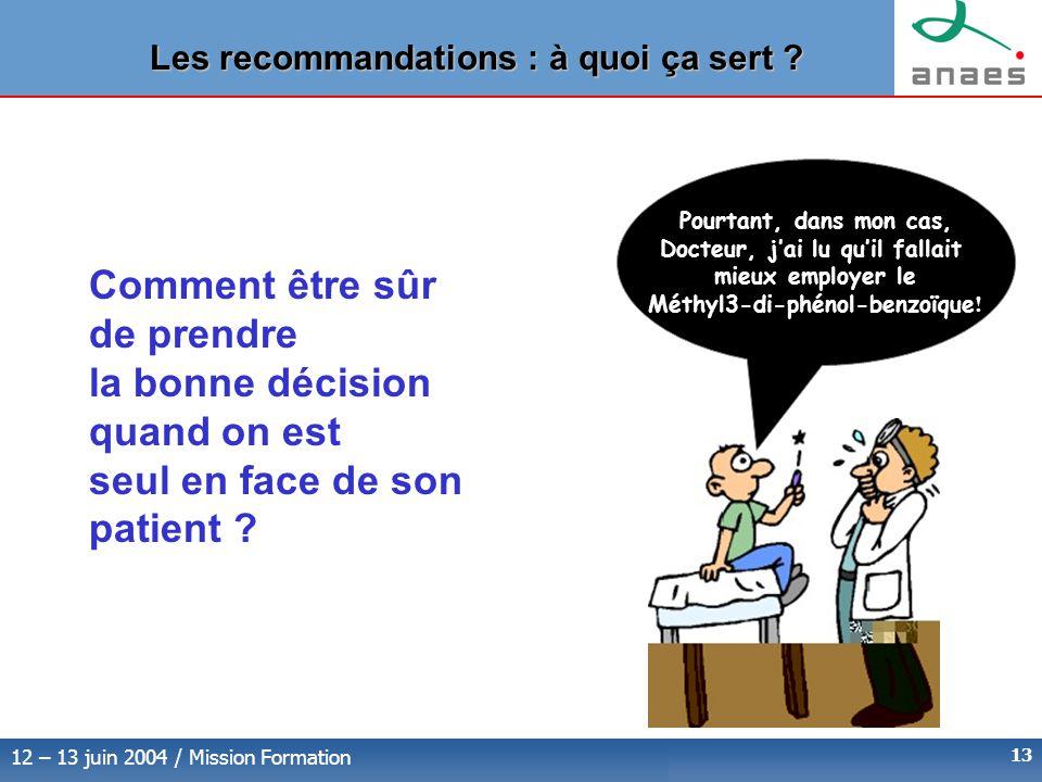12 – 13 juin 2004 / Mission Formation 13 Comment être sûr de prendre la bonne décision quand on est seul en face de son patient .