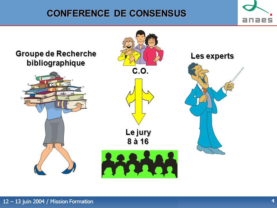12 – 13 juin 2004 / Mission Formation 4 Groupe de Recherche bibliographique Les experts Le jury 8 à 16 C.O.