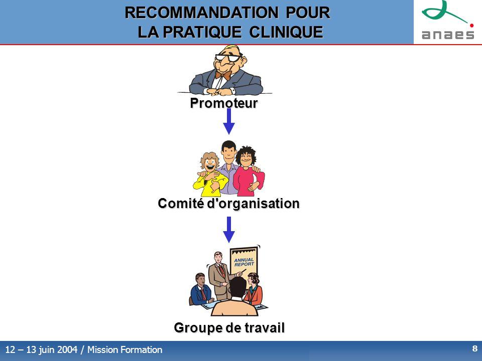 12 – 13 juin 2004 / Mission Formation 8 Promoteur Comité d organisation Groupe de travail RECOMMANDATION POUR LA PRATIQUE CLINIQUE