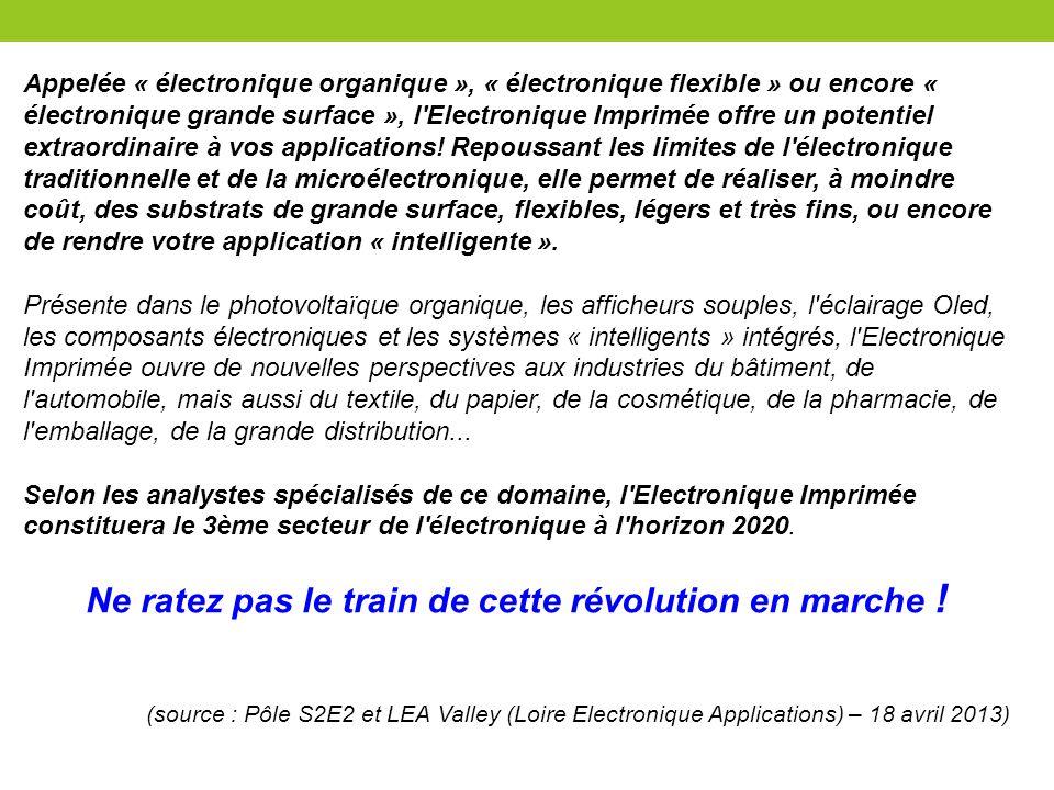 Appelée « électronique organique », « électronique flexible » ou encore « électronique grande surface », l'Electronique Imprimée offre un potentiel ex