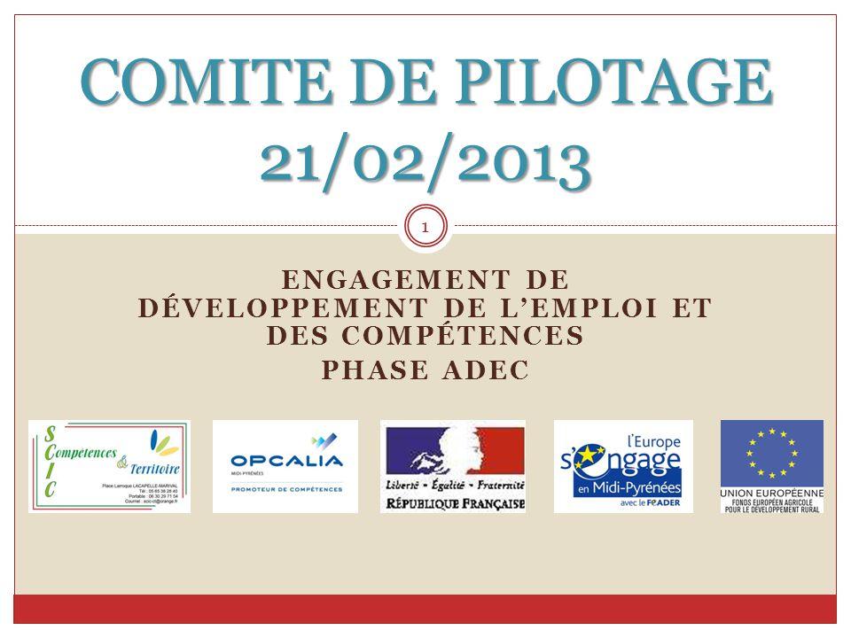 ENGAGEMENT DE DÉVELOPPEMENT DE L'EMPLOI ET DES COMPÉTENCES PHASE ADEC COMITE DE PILOTAGE 21/02/2013 1