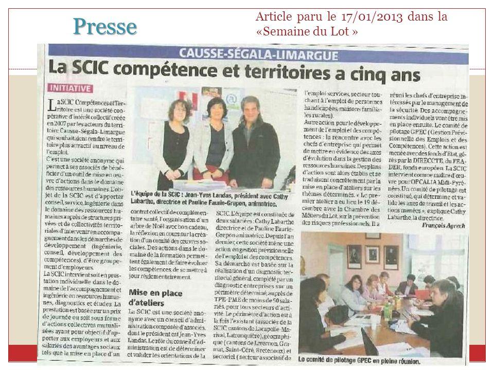 Presse 13 Article paru le 17/01/2013 dans la «Semaine du Lot »