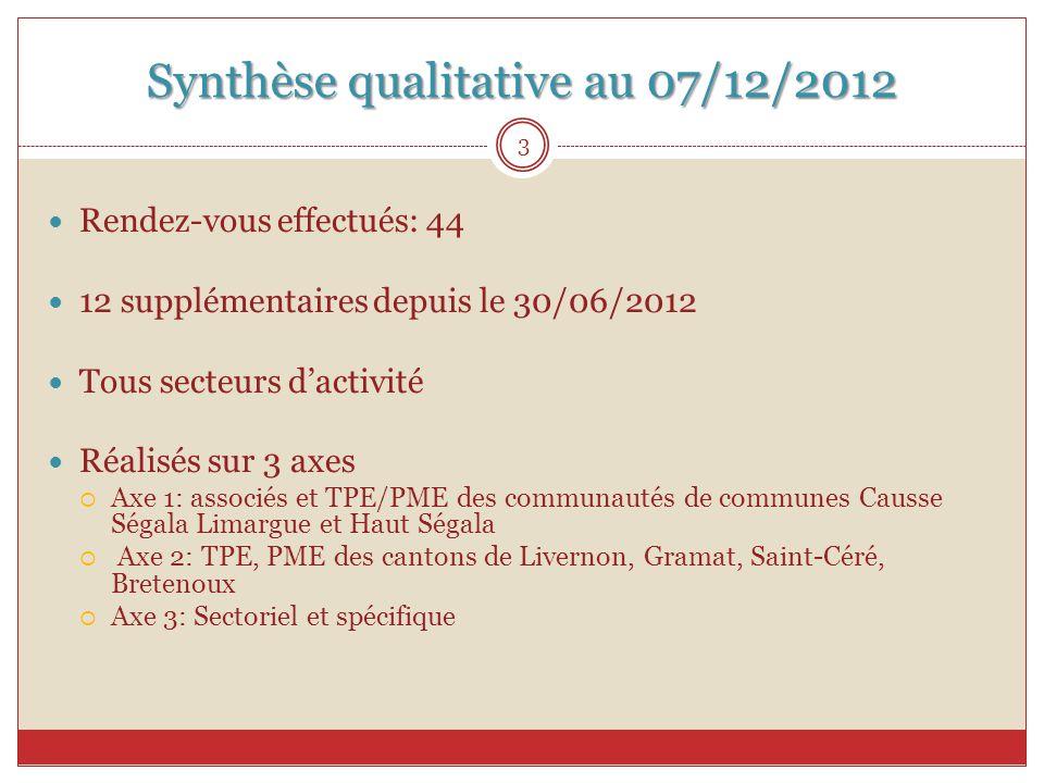 Synthèse qualitative au 07/12/2012 Rendez-vous effectués: 44 12 supplémentaires depuis le 30/06/2012 Tous secteurs d'activité Réalisés sur 3 axes  Ax