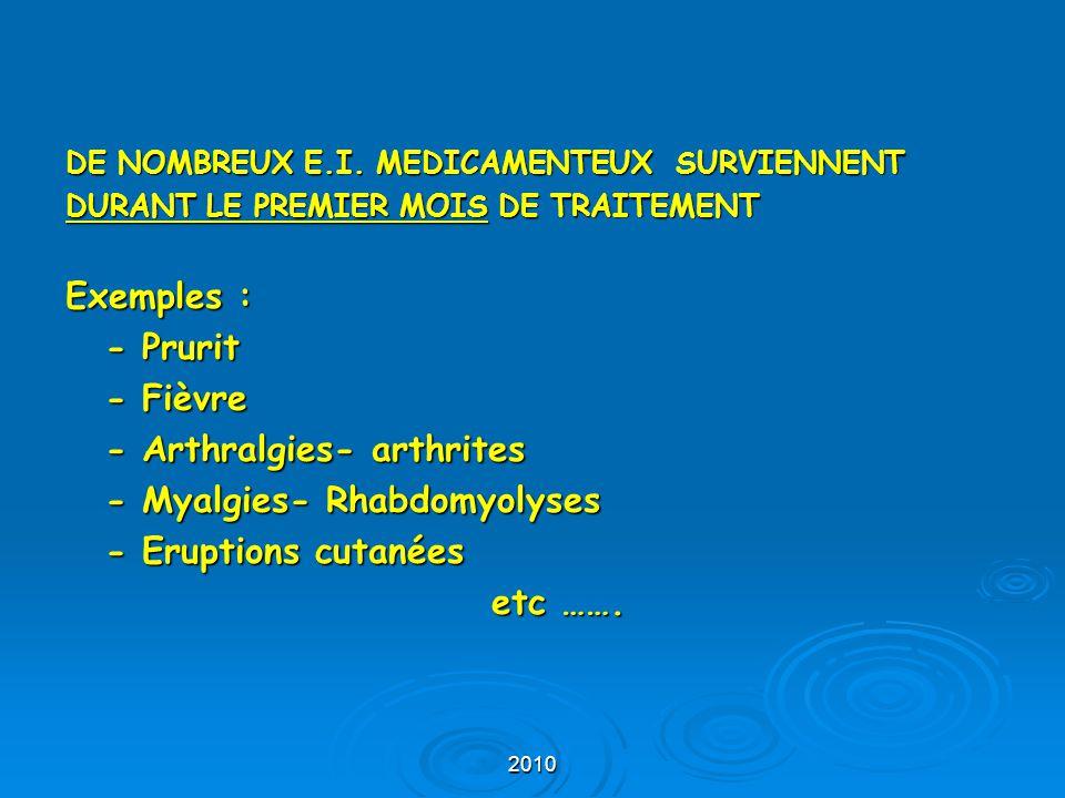 2010 DE NOMBREUX E.I. MEDICAMENTEUX SURVIENNENT DURANT LE PREMIER MOIS DE TRAITEMENT Exemples : - Prurit - Fièvre - Arthralgies- arthrites - Myalgies-