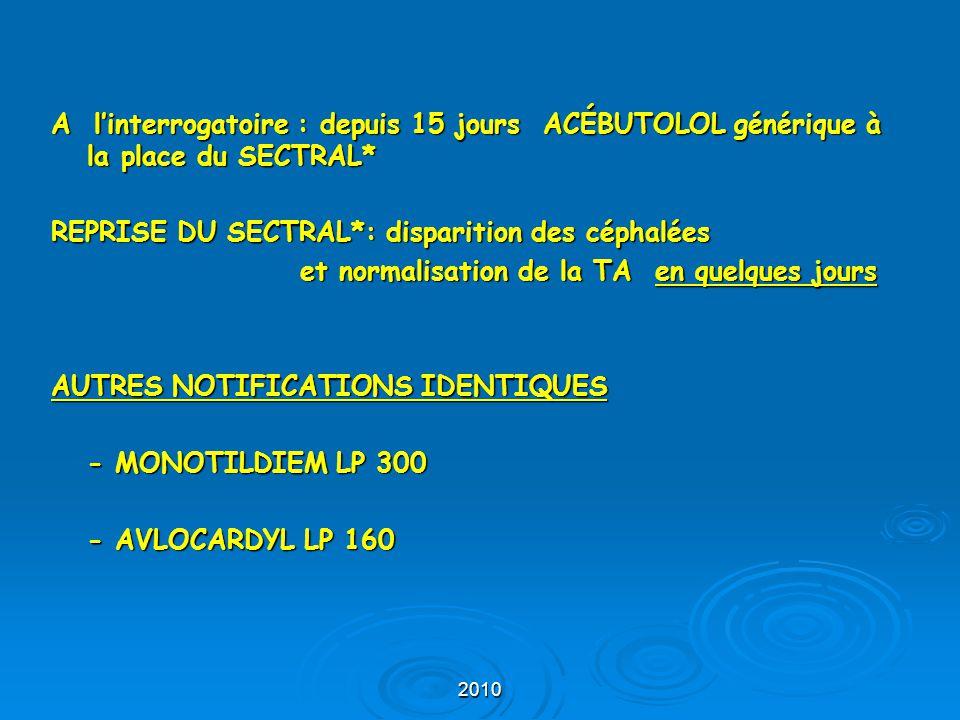 2010 A l'interrogatoire : depuis 15 jours ACÉBUTOLOL générique à la place du SECTRAL* REPRISE DU SECTRAL*: disparition des céphalées et normalisation