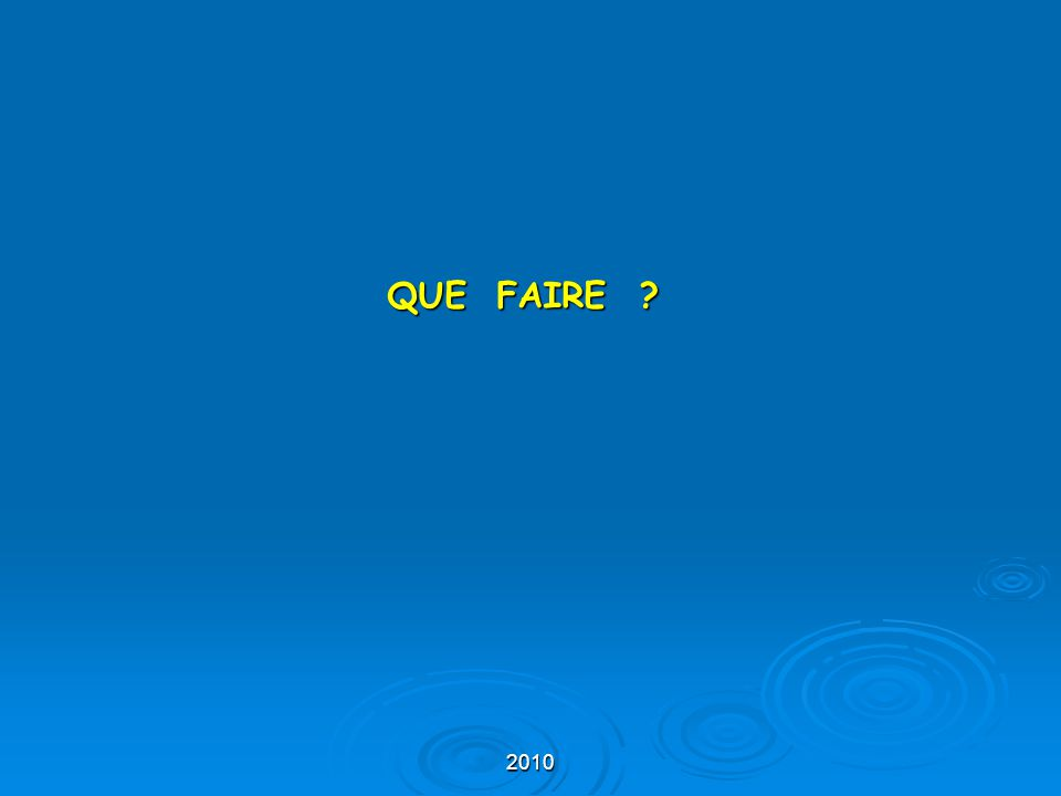 2010 QUE FAIRE ?