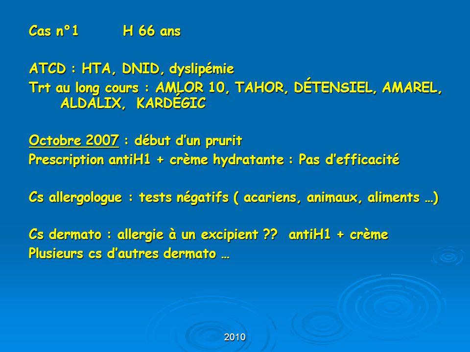 2010 Cas n°1 H 66 ans ATCD : HTA, DNID, dyslipémie Trt au long cours : AMLOR 10, TAHOR, DÉTENSIEL, AMAREL, ALDALIX, KARDÉGIC Octobre 2007 : début d'un