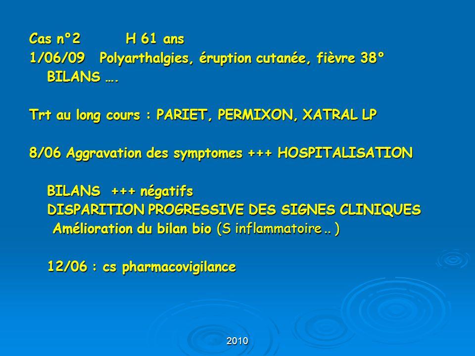 2010 En réalité depuis 3 semaines : Trt au long cours : Pariet, Permixon, Xatral LP ALFUZOSINE BIOGARAN 8/06 Aggravation des symptomes HOSPITALISATION BILANS +++ négatifs MAIS XATRAL LP à l'hôpital Disparition progressive des signes cliniques amélioration du bilan bio (S inflammatoire..