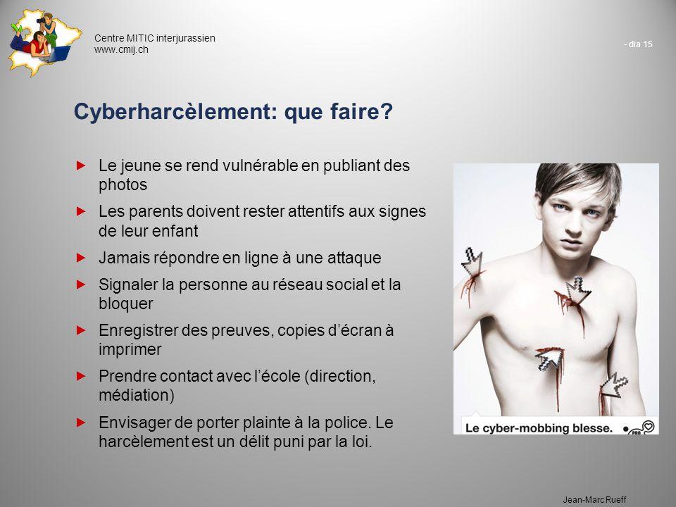 - dia 15 Centre MITIC interjurassien www.cmij.ch Jean-Marc Rueff Cyberharcèlement: que faire?  Le jeune se rend vulnérable en publiant des photos  L