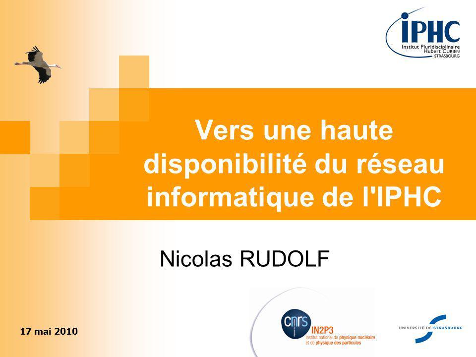 1 Vers une haute disponibilité du réseau informatique de l'IPHC Nicolas RUDOLF 17 mai 2010
