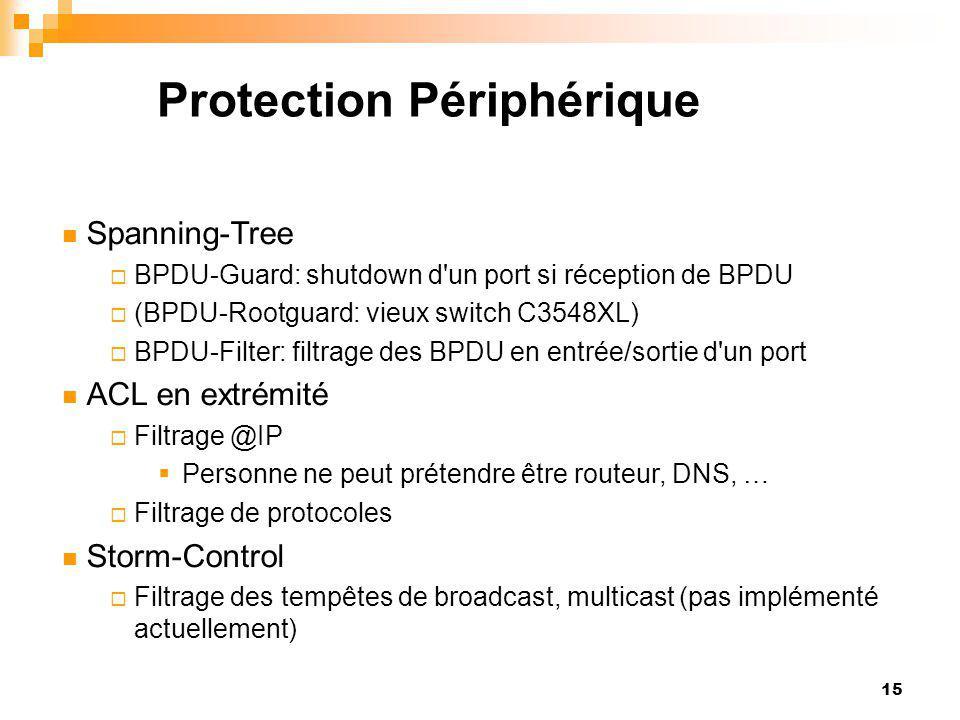 15 Protection Périphérique Spanning-Tree  BPDU-Guard: shutdown d'un port si réception de BPDU  (BPDU-Rootguard: vieux switch C3548XL)  BPDU-Filter: