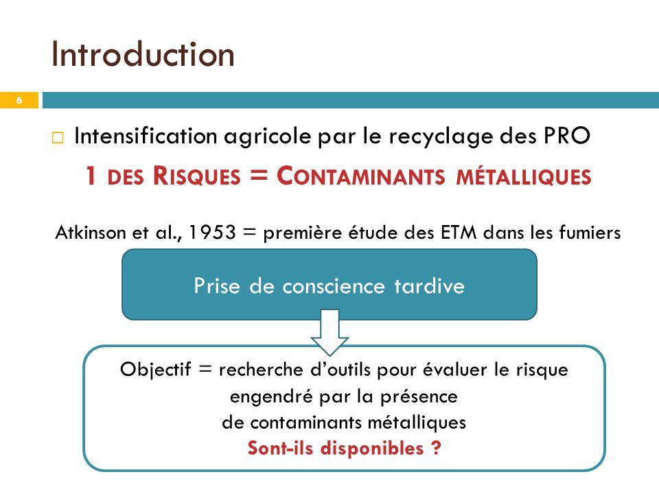  Intensification agricole par le recyclage des PRO 1 DES R ISQUES = C ONTAMINANTS MÉTALLIQUES Atkinson et al., 1953 = première étude des ETM dans les