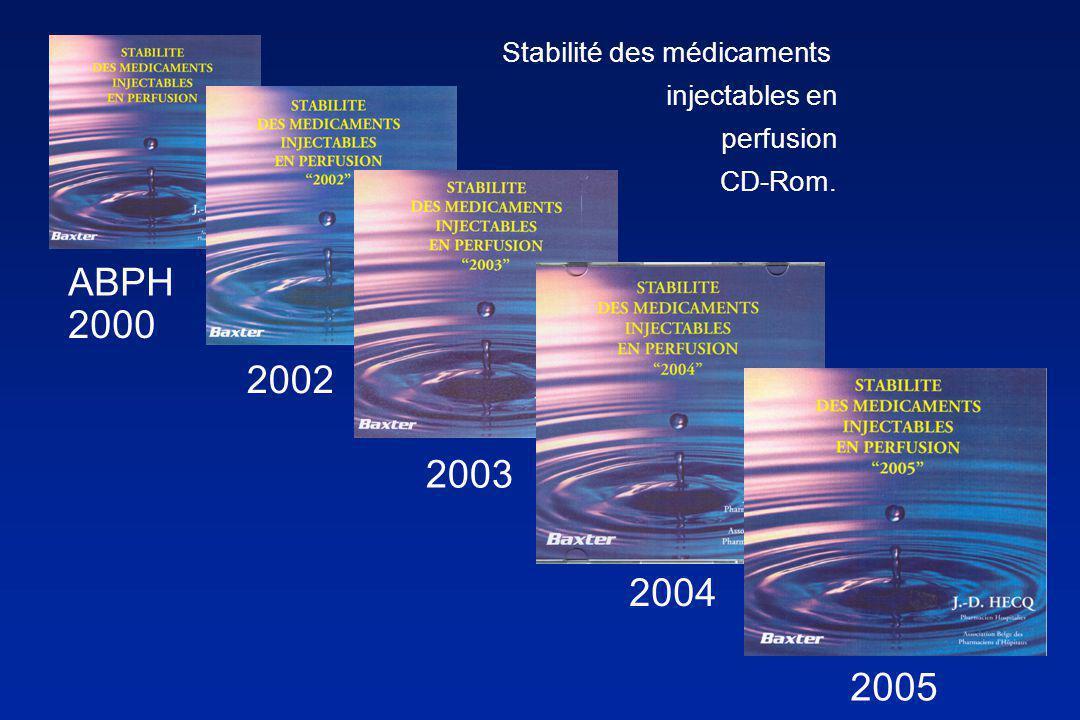 Stabilité des médicaments injectables en perfusion CD-Rom 2006. J.-D. HECQ Pharmacien Hospitalier