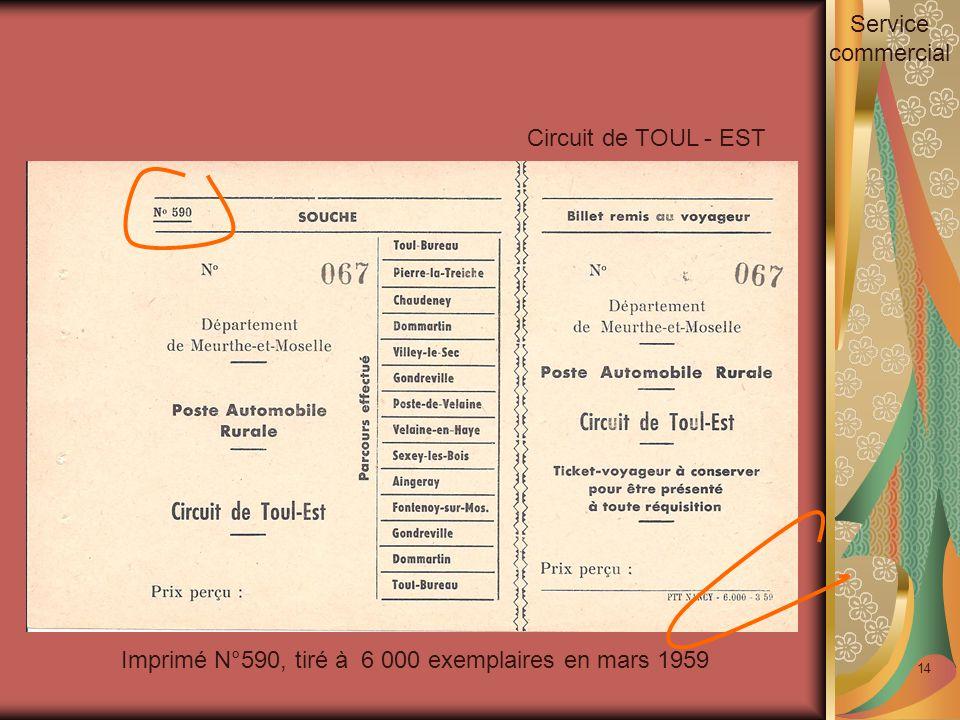 14 Imprimé N°590, tiré à 6 000 exemplaires en mars 1959 Circuit de TOUL - EST Service commercial