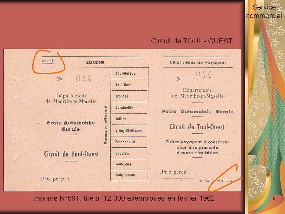 15 Imprimé N°591, tiré à 12 000 exemplaires en février 1962 Circuit de TOUL - OUEST Service commercial