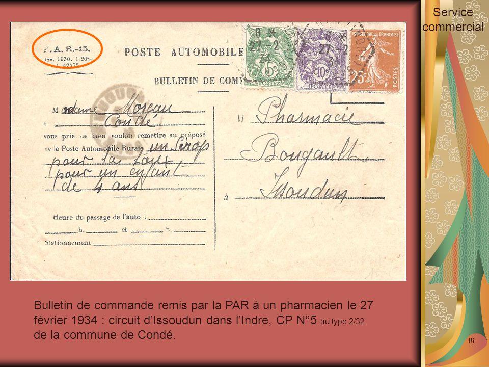 18 Bulletin de commande remis par la PAR à un pharmacien le 27 février 1934 : circuit d'Issoudun dans l'Indre, CP N°5 au type 2/32 de la commune de Condé.