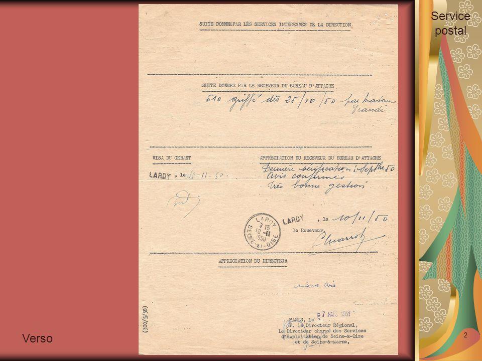 2 Verso Service postal