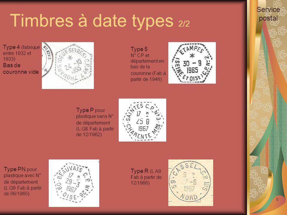 Timbres à date types 2/2 5 Type 4 (fabriqué entre 1932 et 1933) Bas de couronne vide Type 5 N° CP et département en bas de la couronne (Fab.à partir de 1946) Type PN pour plastique avec N° de département (L.G9 Fab.à partir de 06/1965) Type R (L.A9 Fab.à partir de 12/1966) Type P pour plastique sans N° de département (L.G8 Fab.à partir de 12/1962) Service postal