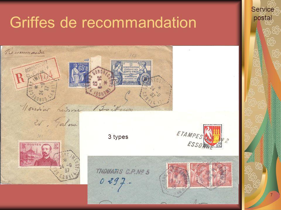 Griffes de recommandation 7 3 types Service postal