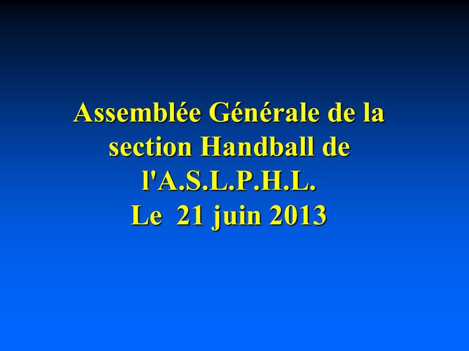 Assemblée Générale de la section Handball de l A.S.L.P.H.L. Le 21 juin 2013