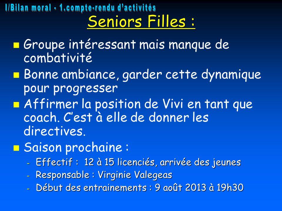 Seniors Filles : Groupe intéressant mais manque de combativité Bonne ambiance, garder cette dynamique pour progresser Affirmer la position de Vivi en tant que coach.