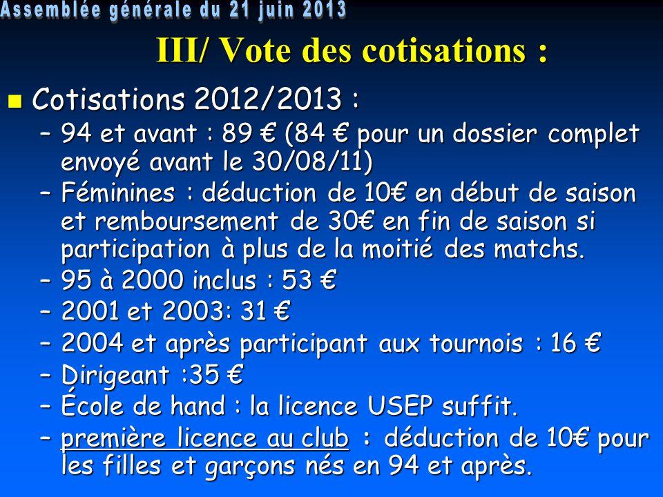 III/ Vote des cotisations : Cotisations 2012/2013 : Cotisations 2012/2013 : –94 et avant : 89 € (84 € pour un dossier complet envoyé avant le 30/08/11) –Féminines : déduction de 10€ en début de saison et remboursement de 30€ en fin de saison si participation à plus de la moitié des matchs.
