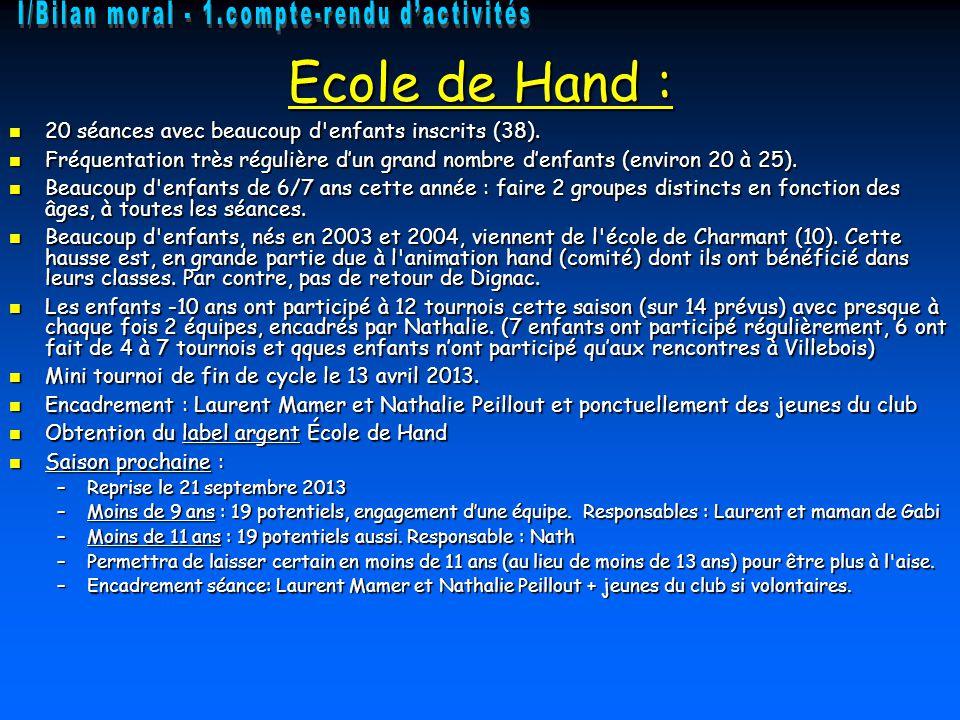 Ecole de Hand : 20 séances avec beaucoup d enfants inscrits (38).