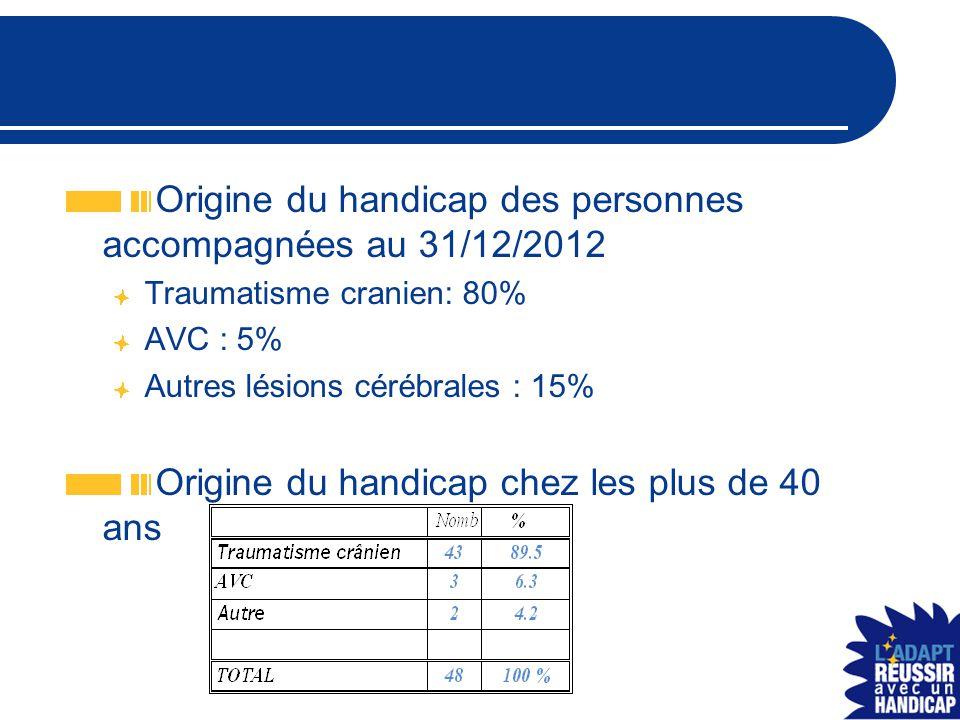 Origine du handicap des personnes accompagnées au 31/12/2012 Traumatisme cranien: 80% AVC : 5% Autres lésions cérébrales : 15% Origine du handicap chez les plus de 40 ans