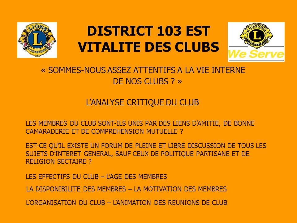 DISTRICT 103 EST VITALITE DES CLUBS « SOMMES-NOUS ASSEZ ATTENTIFS A LA VIE INTERNE DE NOS CLUBS ? » L'ANALYSE CRITIQUE DU CLUB LES MEMBRES DU CLUB SON