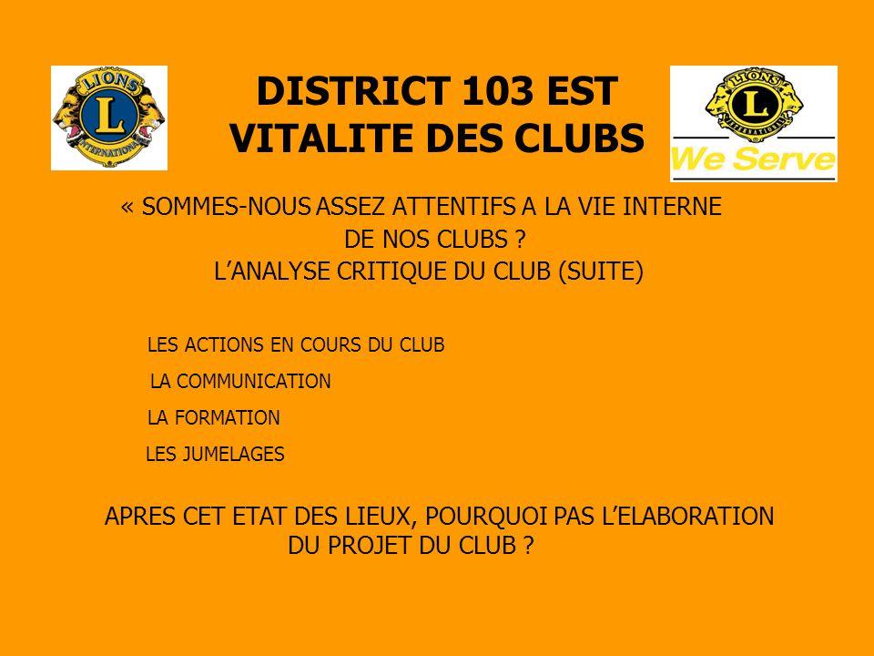 DISTRICT 103 EST VITALITE DES CLUBS « SOMMES-NOUS ASSEZ ATTENTIFS A LA VIE INTERNE DE NOS CLUBS ? L'ANALYSE CRITIQUE DU CLUB (SUITE) LES ACTIONS EN CO