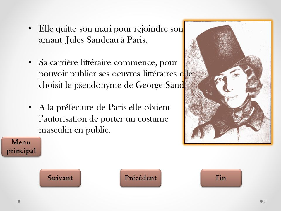 Fin Suivant Précédent Testez vos connaissances 18 George Sand se consacre à l'écriture............................