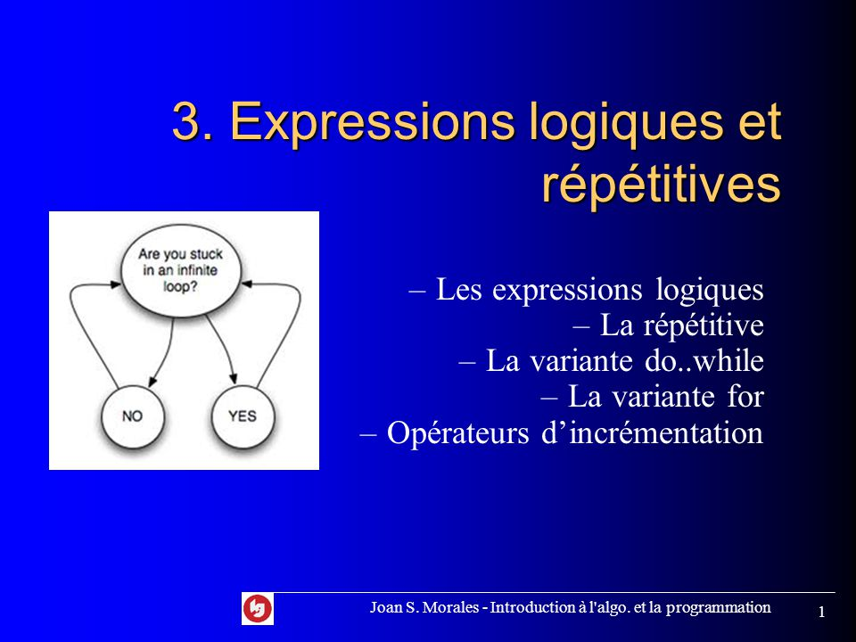 Joan S. Morales - Introduction à l algo. et la programmation 1 3.