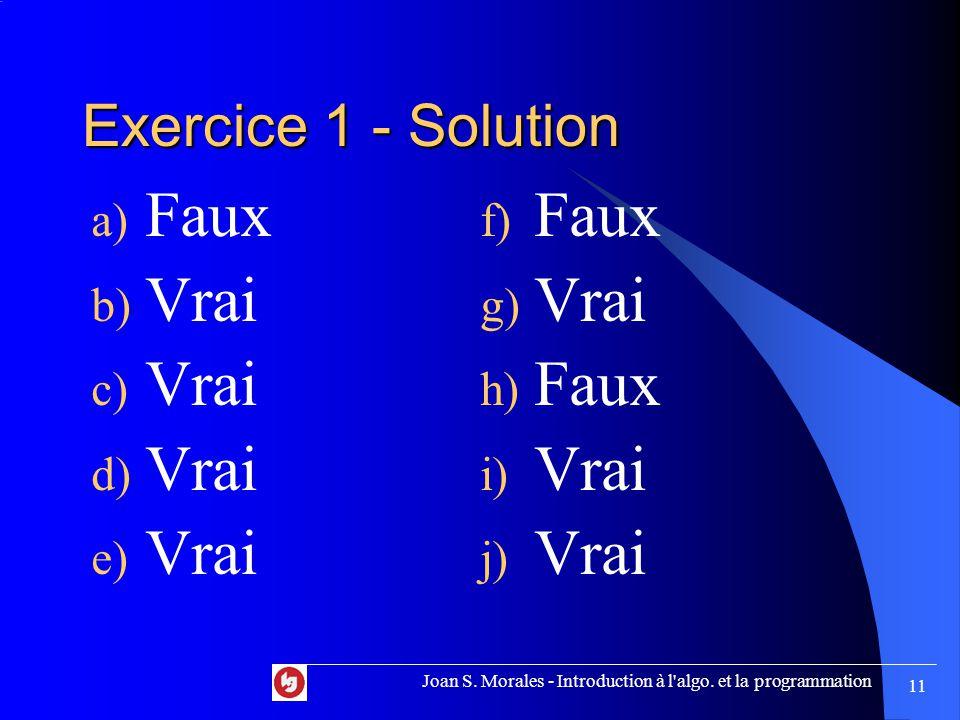 Exercice 1 - Solution a) Faux b) Vrai c) Vrai d) Vrai e) Vrai f) Faux g) Vrai h) Faux i) Vrai j) Vrai Joan S.