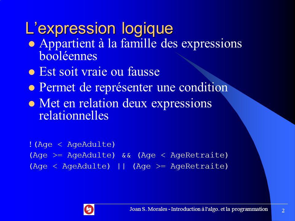 Préparation Exercice 3.14 (suite) Lire Nombre Premier = vrai Compteur = 2 Tant que Compteur <= Nombre -1 { Si Nombre est divisible par Compteur sans reste { Premier = faux } Joan S.