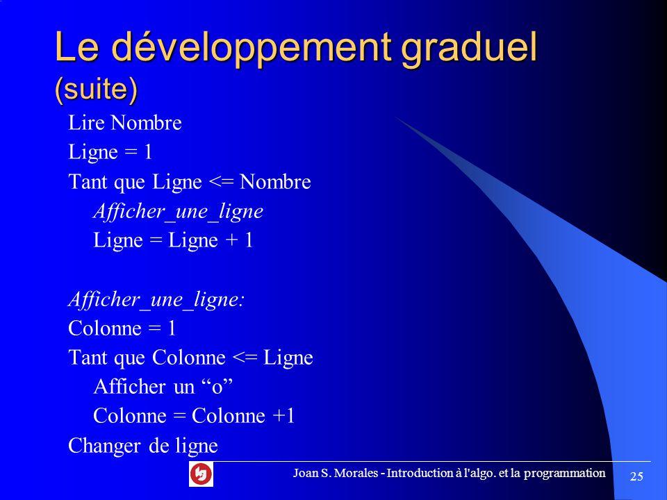 Le développement graduel (suite) Lire Nombre Ligne = 1 Tant que Ligne <= Nombre Afficher_une_ligne Ligne = Ligne + 1 Afficher_une_ligne: Colonne = 1 Tant que Colonne <= Ligne Afficher un o Colonne = Colonne +1 Changer de ligne Joan S.