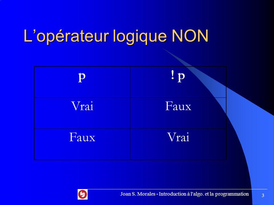 L'opérateur logique NON p. p VraiFaux Vrai Joan S.