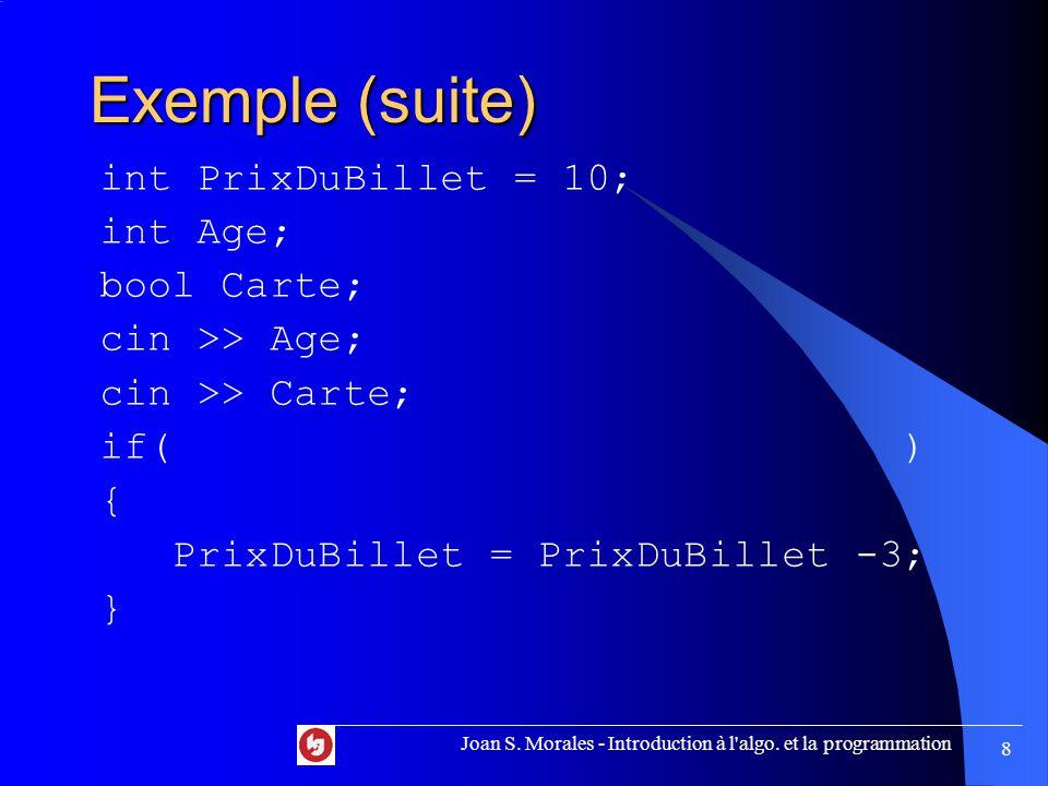 La variante for for (initialisation de la VC ; condition ; modification de la VC) { // Traitement } Joan S.